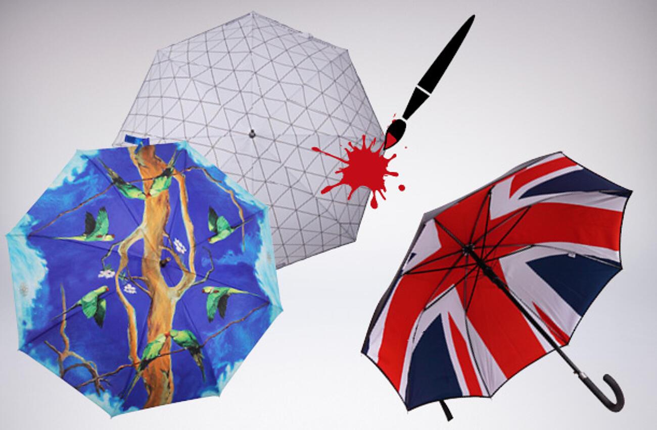 Vollflächig bedruckte Schirme